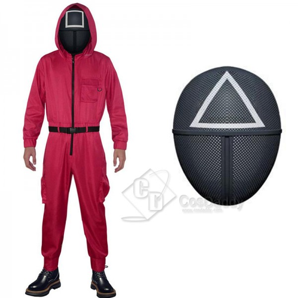 2021 South Korean Movie Squid Game Cosplay Costume Game Manager Red Jumpsuit Black Mask