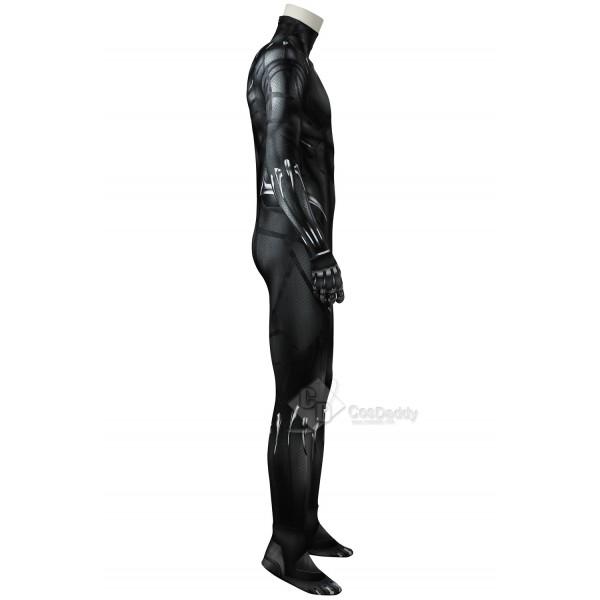 Cosdaddy Black Panther T'Challa Cosplay Costume Black Battle Jumpsuit Uniform for Men