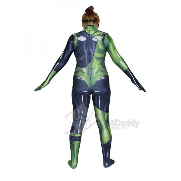 Cosdaddy Kim Possible Shego Cosplay Costume Black Green Jumpsuit