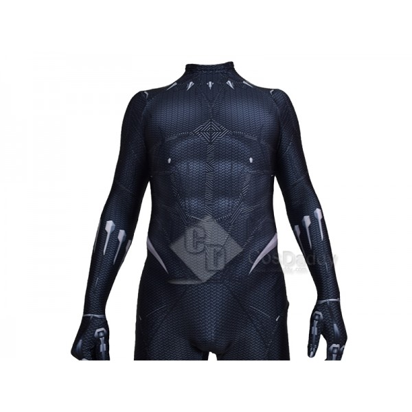 Cosdaddy Black Panther T'Challa Cosplay Black Costume Jumpsuit