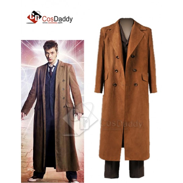 Doctor Who Ten 10th  Brown Trench Coat Suit  full ...