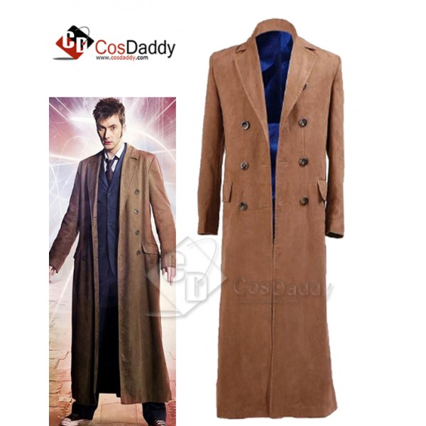 Doctor Who tenth 10th Doctor Brown Trench Coat Cos...