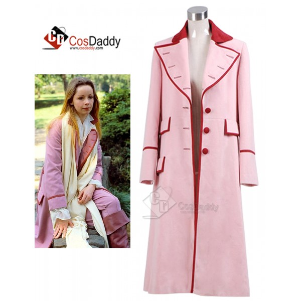 Doctor Who fifth Doctor Romana Long Pink Cashmere Trench Coat Cosplay Costume