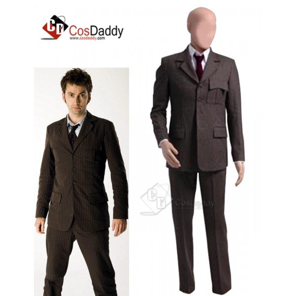 Doctor Who Ten 10th Doctor Brown Pinstripe Wool Su...