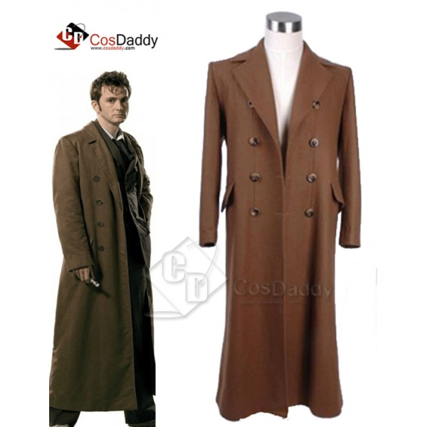 Doctor  Who Tenth 10th Doctor Wool Trench Coat Cos...