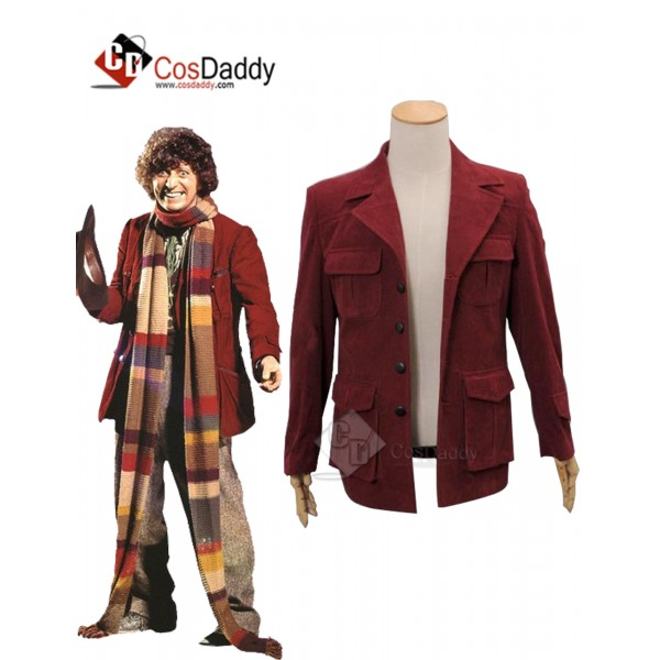 Doctor Who fourth 4th Doctor Dark Red Corduroy Jac...