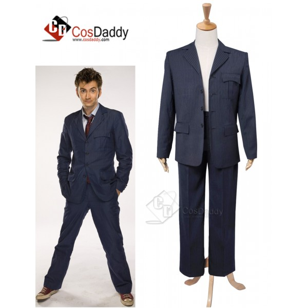 Doctor Who Tenth 10th Doctor Blue Pinstripe Suit C...