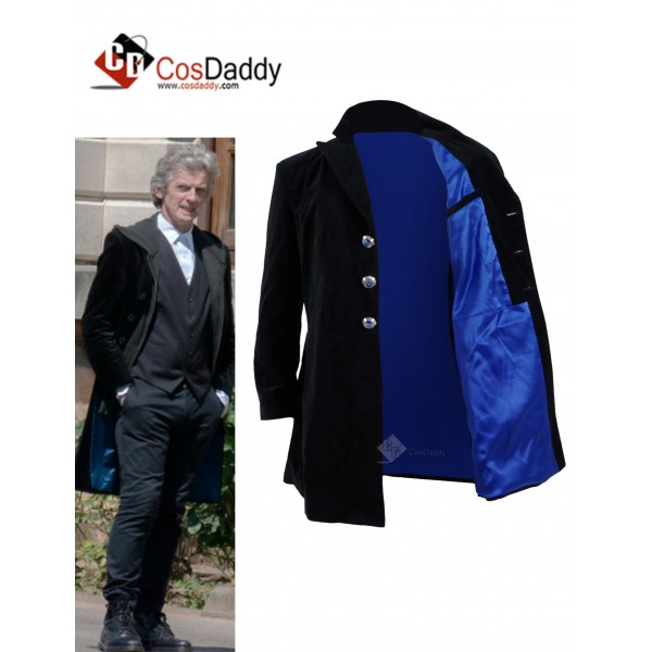 CosDaddy Christmas Specials Doctor  Who 12th Dr Mysterio Cosplay Costume Black&Navy Velvet Coat