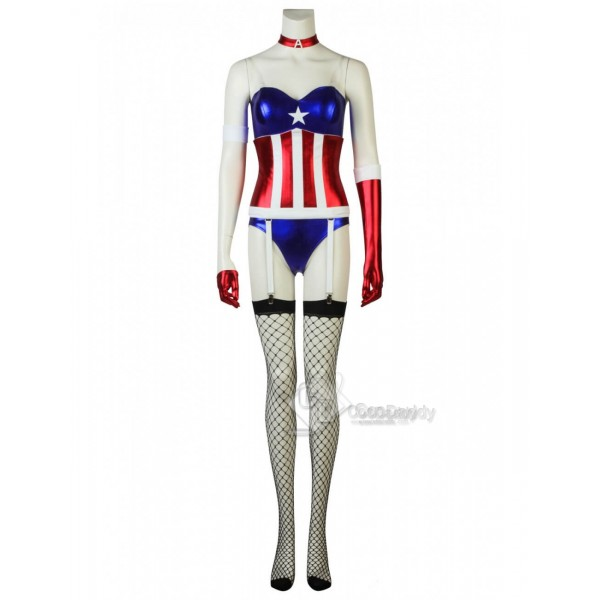 Captain America Bare Shoulders Girl's Dressing Cosplay Costume