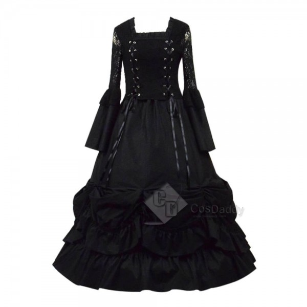 Cheap Black Gothic Lolita Dress Cosplay Costume F...
