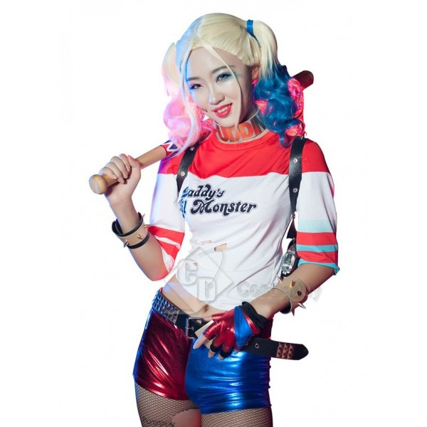 Suicide Squad Movie Costume Harley Quinn  Jacket Shorts Suit