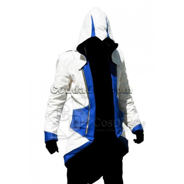 Assassin's Creed III Connor Kenway Coat Jacket Hoodie White Blue Cosplay Costume