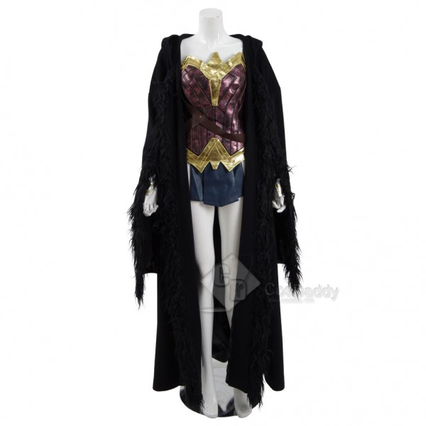 Wonder Woman Diana Princess Black Cloak Cosplay Costume