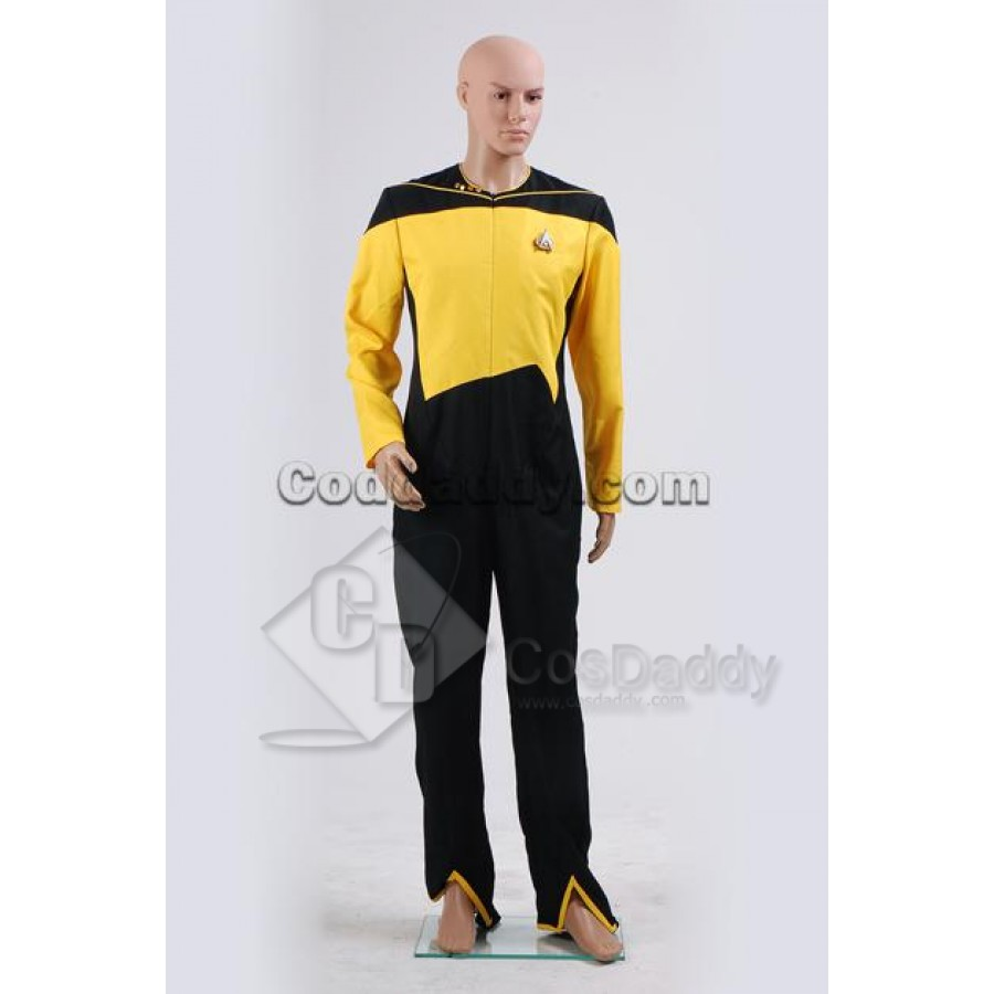The Next Generation TNG Operations Uniform Cosplay Costume Yellow Jac Star Trek