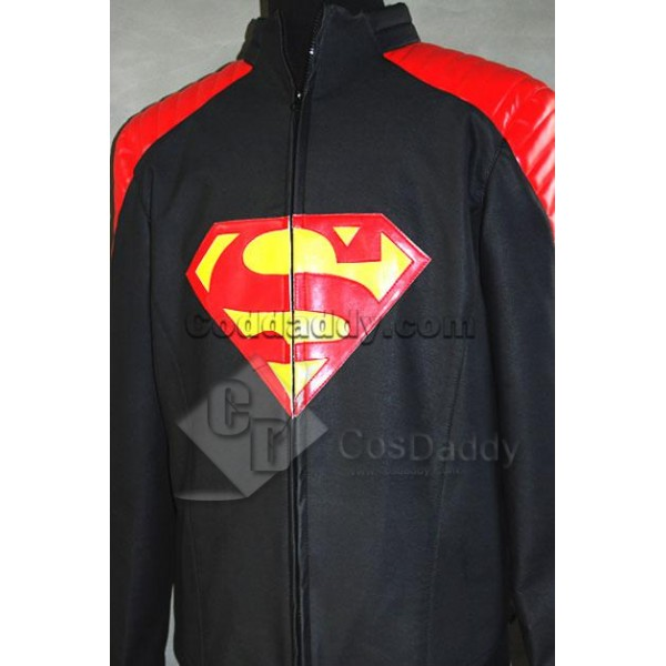 Smallville Clark Kent Black Leather Jacket Cosplay...