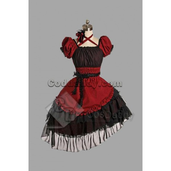 Red Cotton Yarn Classic Lolita Dress Cosplay Costu...