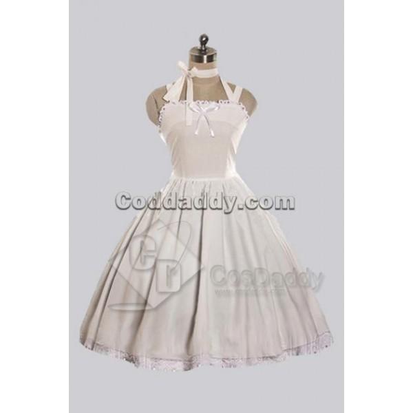 White Cotton Cute Lolita Dress Cosplay Costume