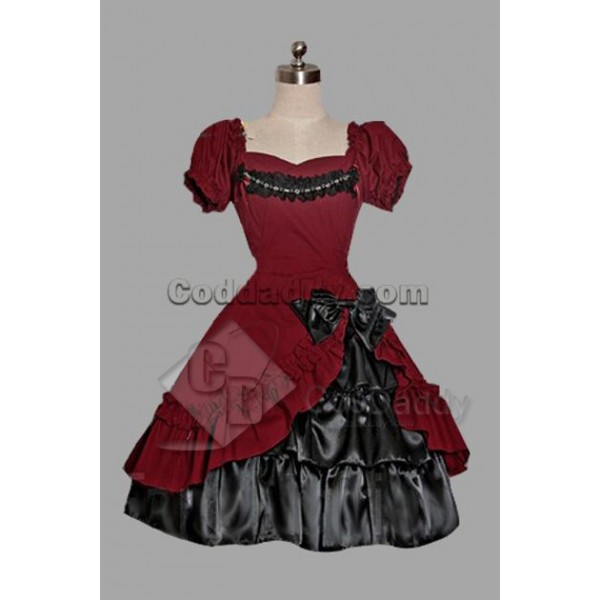 Dark Red And Black Cotton Gothic Lolita Dress Cosp...