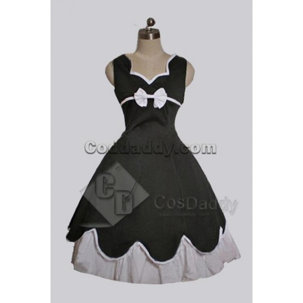 Black Cotton Gothic Lolita Dress Cosplay Costume