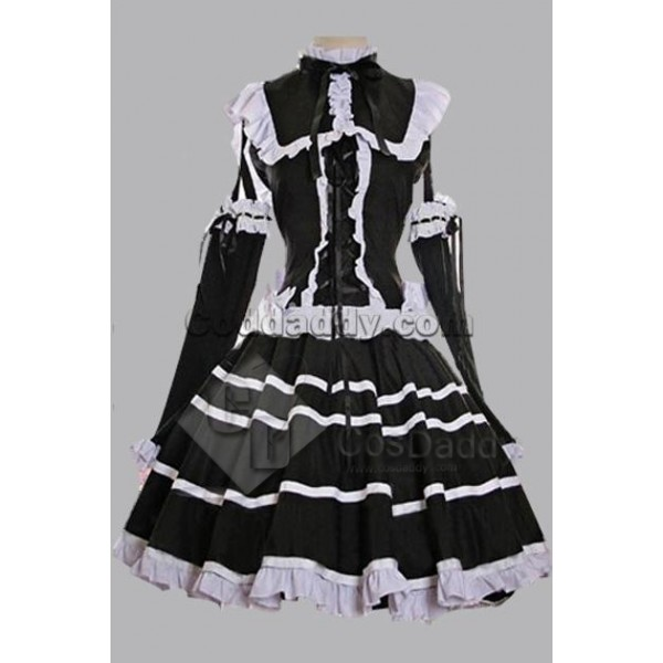 Black Cotton Bandage Striped Gothic Lolita Dress C...