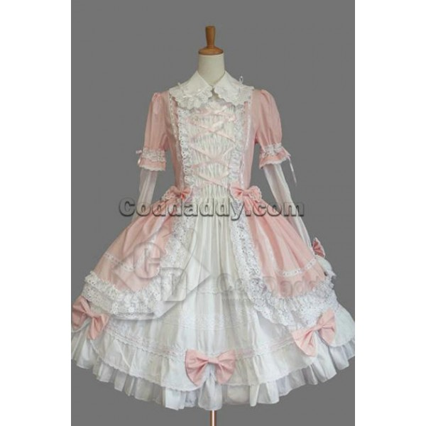 Gothic Lolita Long Sleeves Pink and White Dress Co...