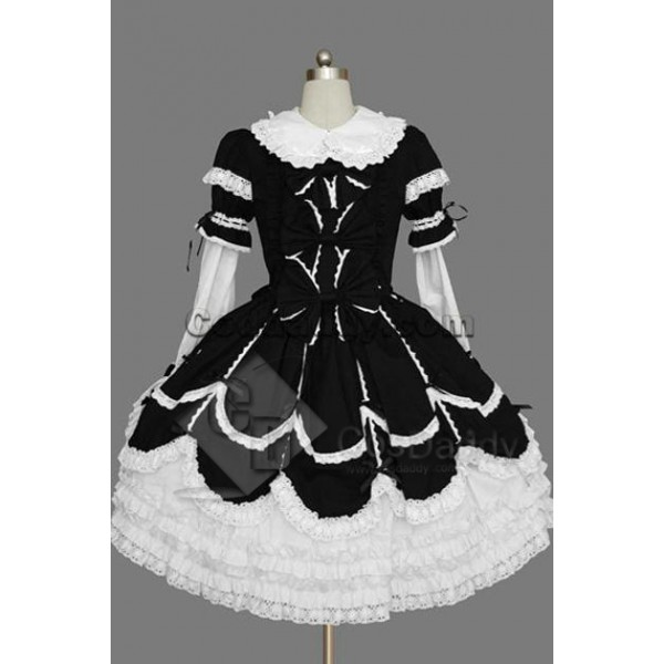 Gothic Lolita Long Sleeve White Black Dress Cospla...