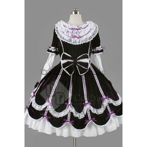 Gothic Lolita Long Sleeves White Lace Black Dress ...