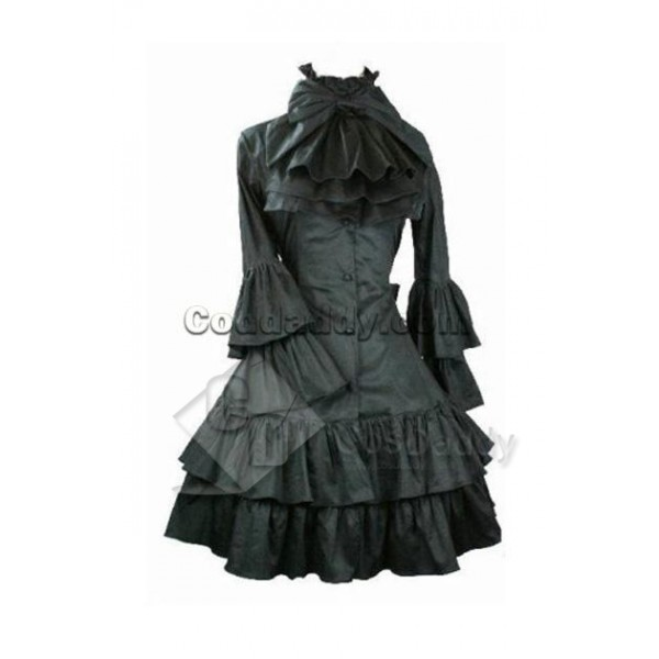Gothic Lolita Long Sleeve Black Dress Cosplay Cost...
