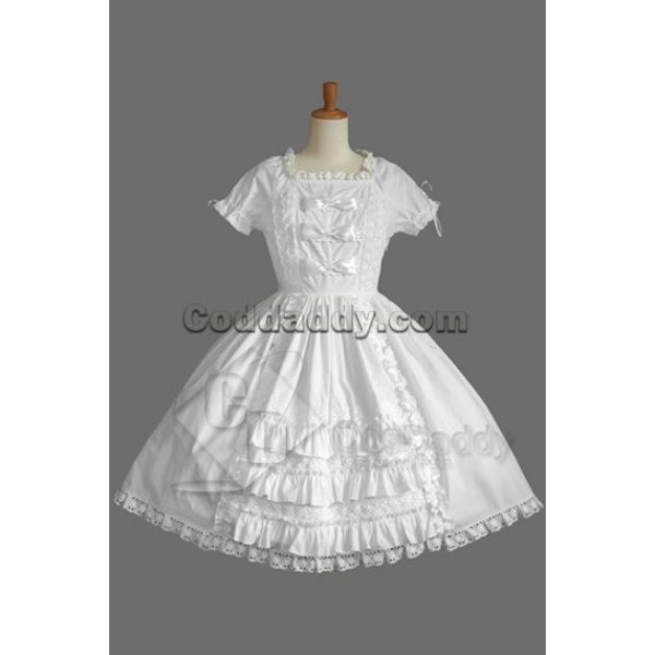 Gothic Lolita Dress Short-Sleeve Maid's Uniform Wh...