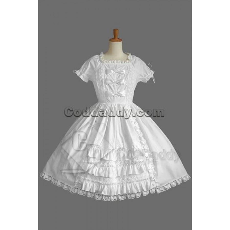 Short Sleeves Satin Lolita Dress Cosplay Costume Outfit Halloween Custom Made