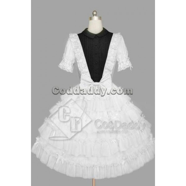 Gothic Lolita Short Sleeves White and Black Dress Cosplay Costume