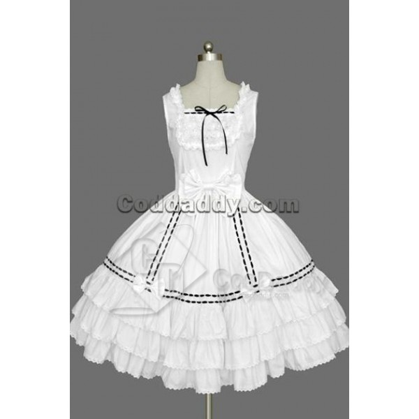 Gothic Lolita Sleeveless White and Black Lace Dres...