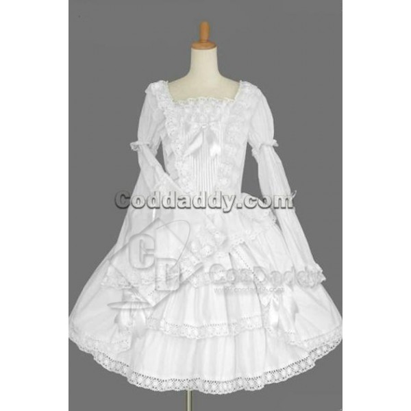 Gothic Lolita Long Sleeves White Dress Cosplay Cos...
