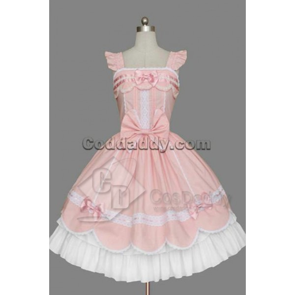 Gothic Lolita Sleeveless Pink and White Dress Cosp...
