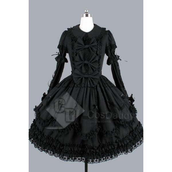 Gothic Lolita Long Sleeves Black Dress Cosplay Costume