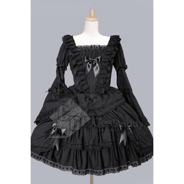 Gothic Lolita Long Sleeves Black Dress Cosplay Cos...