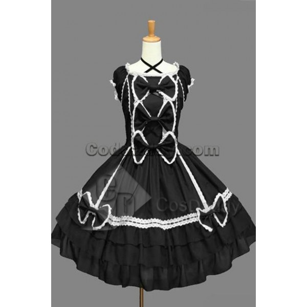 Gothic Lolita Sleeveless White Lace Black Dress Co...