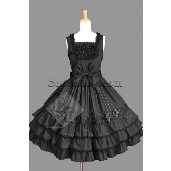 Gothic Lolita Sleeveless Black Dress Cosplay Costu...