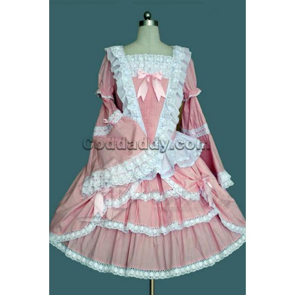 Pink And White Long Sleeves Cotton Gothic Lolita Dress Cosplay Costume