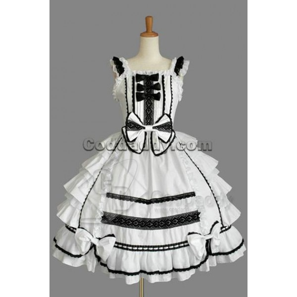 Gothic Lolita Sleeveless Black Lace White Dress Co...
