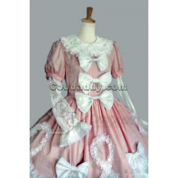 Pink And White Long Sleeves Cotton Gothic Lolita D...