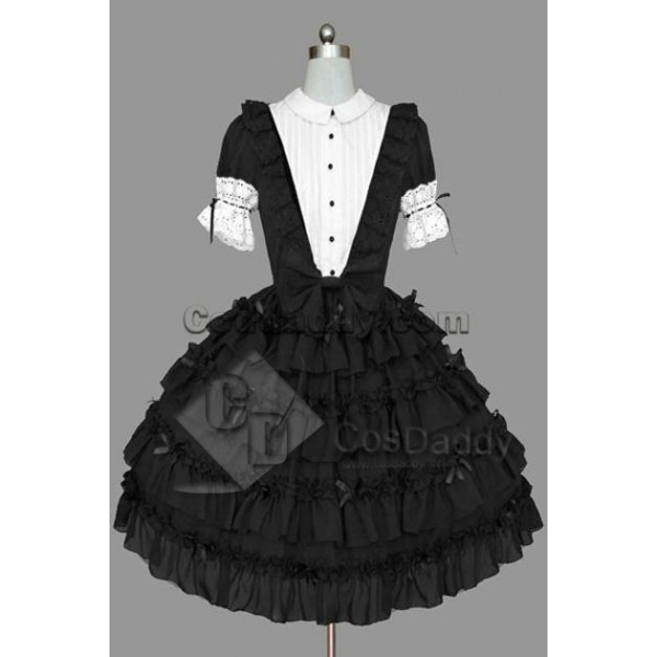 Gothic Lolita Short Sleeve White Black Dress Cospl...
