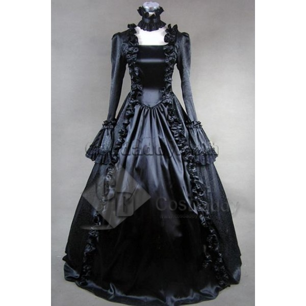 Victorian Gothic Satin Jacquard Dress Ball Gown Co...