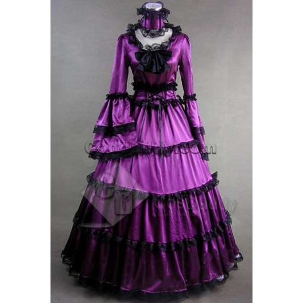 Southern Belle Gothic Satin Dress Ball Gown Prom Cosplay Costume