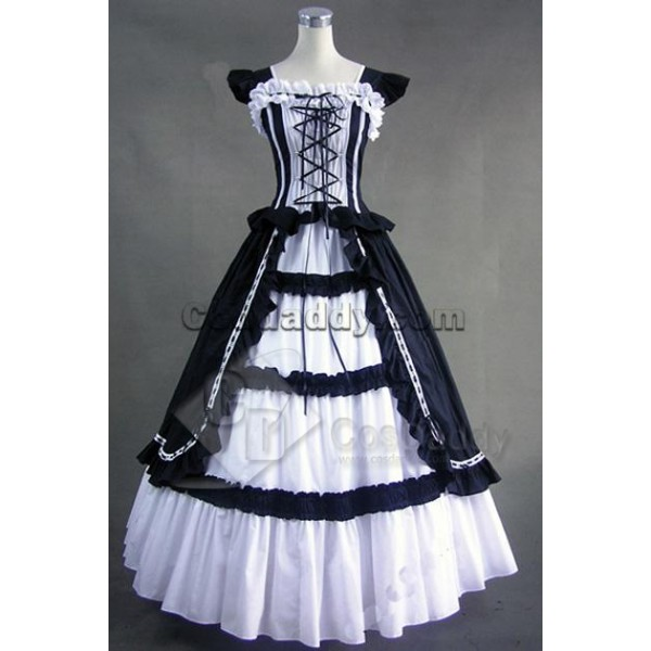 Victorian Gothic Lolita Cotton Dress Ball Gown Cos...