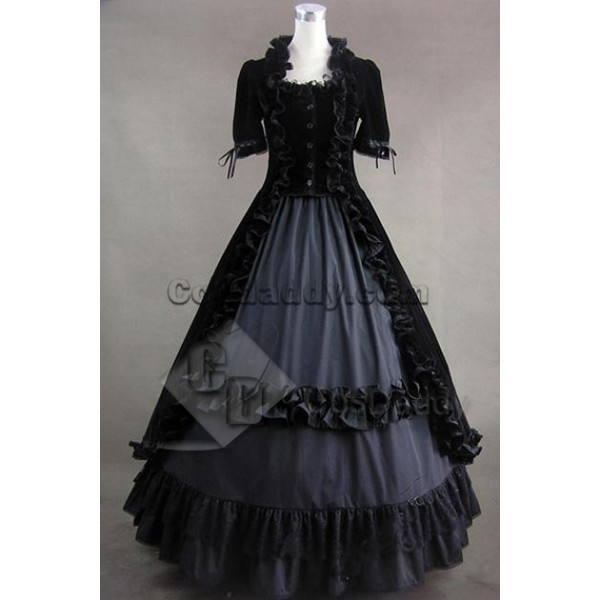 Renaissance Gothic Lolita Velvet Dress Ball Gown C...