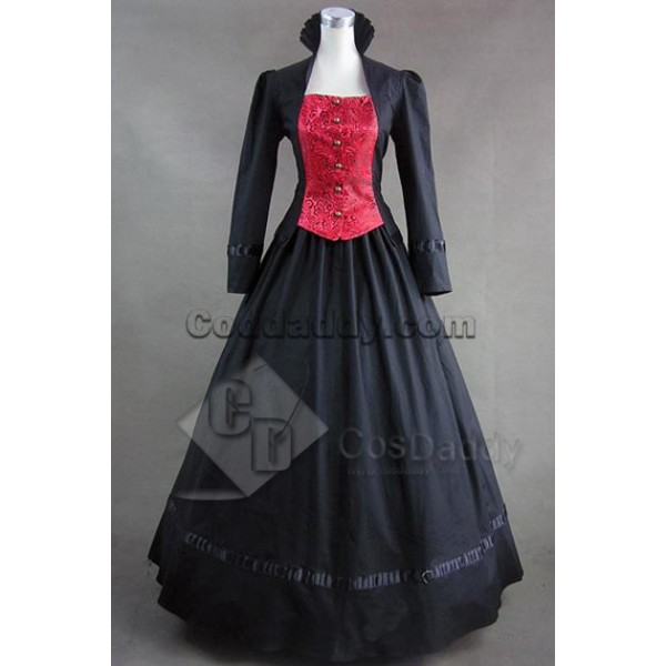 Gothic Victorian Brocaded Jacquard Dress Gown Cosplay Costume