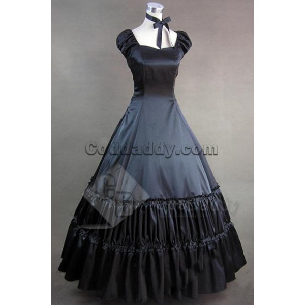 Civil War Gothic Lolita Satin Gown Dress Prom Cosp...