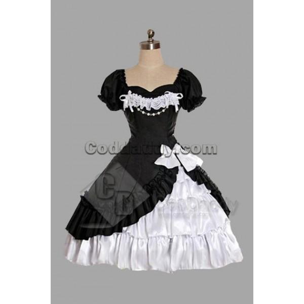 Black And White Satin Yarn Lolita Dress Cosplay Co...