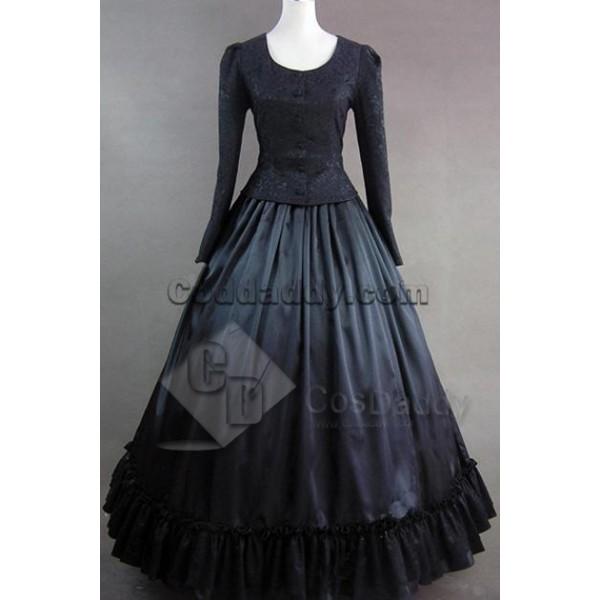 Civil War Victorian Brocaded Ball Gown Dress Prom ...